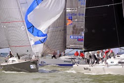 J/111 one-design sailboats rounding mark