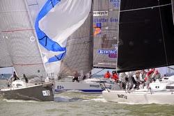 J/111 one-design sailboats rounding mark