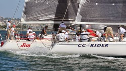 J/120s at starting line off San Diego