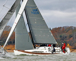 J/122E sailing the Hamble Winter Series on the Solent, United Kingdom
