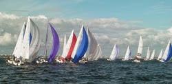 J/80 sailboats- sailing off Lorient, France