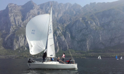 J/24 sailing on Lake Como