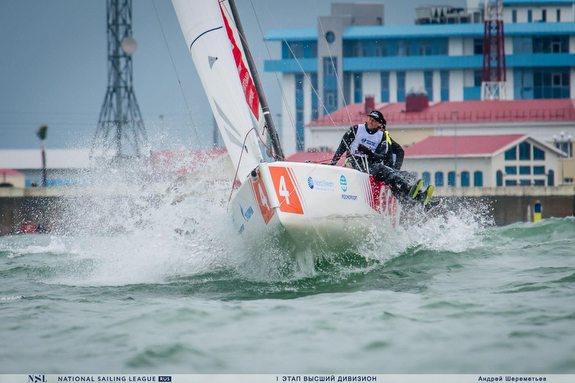J/70 sailing off Sochi, Russia big winds