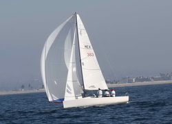 J/70 sailing and winning San Diego YC Hot Rum Series