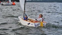 Sally Barkow sailing Opti in Wisconsin