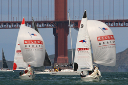 J/22s sailing match race on San Francisco Bay