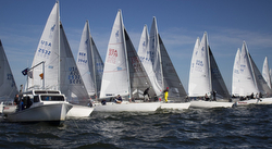 J/24s sailing off starting line