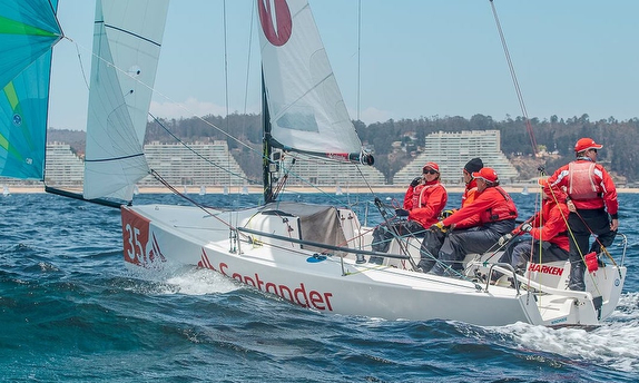 J/70 sailing downwind off Chile