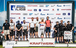 German J/70 sailing league- winners podium