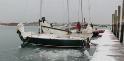 J/24s frostbiting off Boston Sailing Center