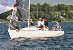 J/27 one-design sailboat- sailing downwind
