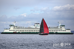 J/122e Joyride passes ferry in Seattle