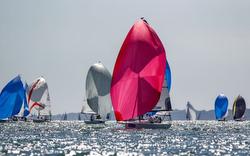 J/70 sailing downwind off Cowes, England