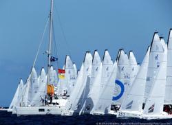J/70 Worlds starting line off Porto Cervo, Sardinia