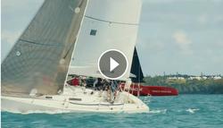 J/105 sailing past Oracle Team USA AC 45 foiler