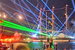 J22 fireworks and laser show at Travemunde, Germany