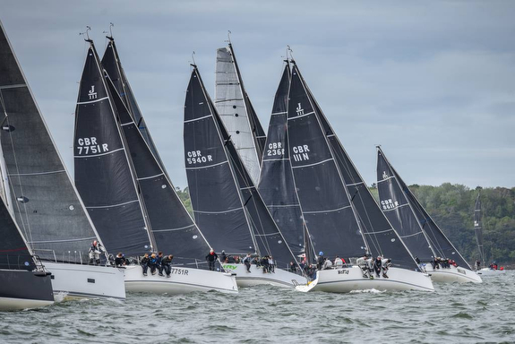 J/111s sailing off start on Solent- Warsash Series
