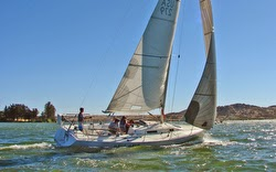 J/105 sailboat- sailing on lake in Chile