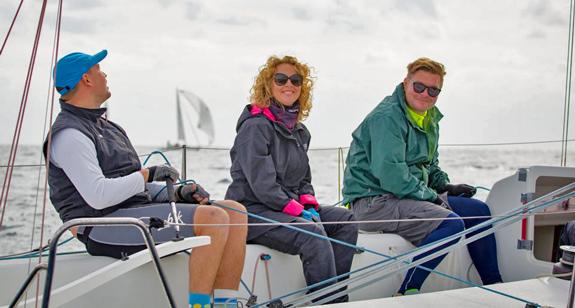 Happy J/80 crew sailing off Cyprus