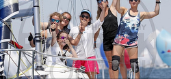 Women J/80 sailors at Worlds