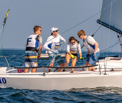 J/70s sailed by high school sailing teams
