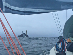 J/111 BLUR- sailing past Fastnet Rock