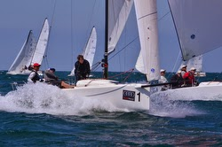 J/70 sailing off Cleveland