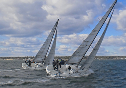 J/88s sailing upwind on Long Island Sound