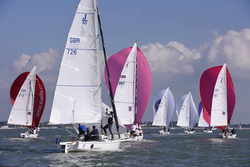 J/80s sailing spinnakers- UK Nationals