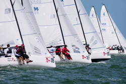 J/70s sailing off start at Bacardi Miami