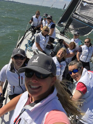 J/112E Davanti Tyres women's crew sailing on Solent