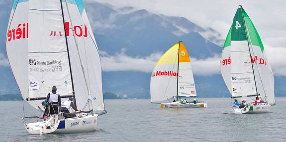 J/70s sailing Swiss league on Lago Maggiore