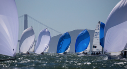 J/70s sailing downwind at Worlds in San Francisco