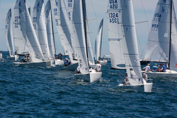 J/70s sailing the Newport Regatta off Newport, RI