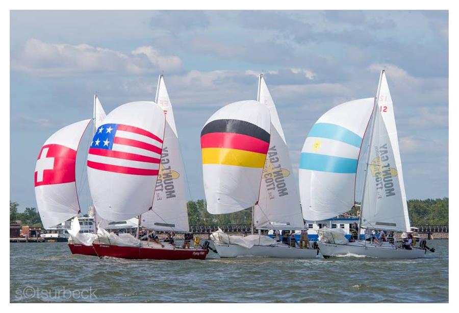 J/24s sailing on Hudson River, New York