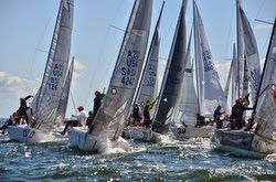 J/24 sailboats- rounding mark