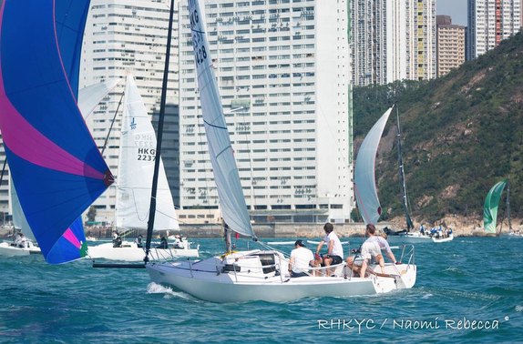 J/80 sailing off Hong Kong
