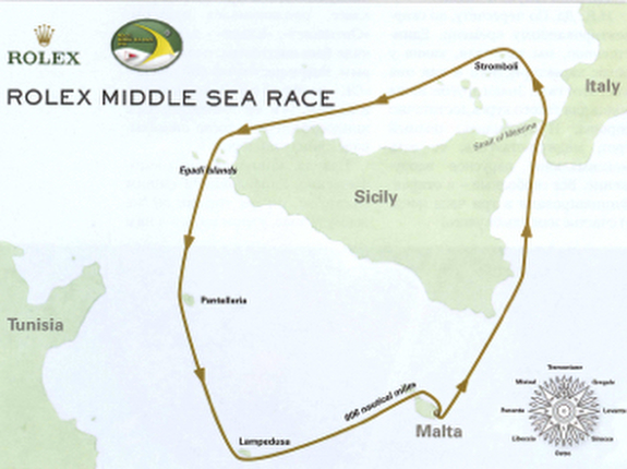 Rolex Middle Sea Race course for J/122 Stellar Racing team