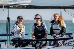 Women J/70 sailing team off Cowes
