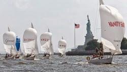 J/24s sailing off Manhattan YC in New York