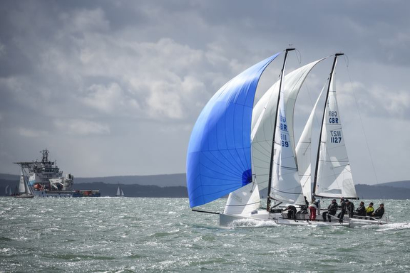 J/70s sailing on the Solent, England