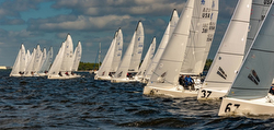 J/70s sailing off start line- Tampa Bay Winter Seriers
