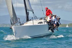 J/111 JBoss sailing Jeff Campana Race off Guadeloupe
