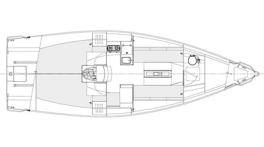 J/99 offshore speedster interior plan
