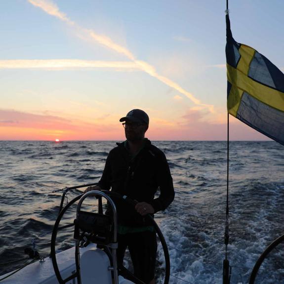 J/121 Jolene enjoying sunset sail