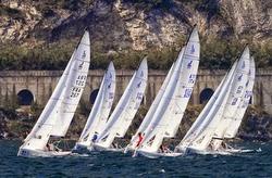 J/70s sailing upwind on Lake Garda- Europeans