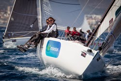 J/80 sailing off Palma Mallorca, Spain