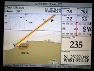 J/105 sailing plot to Cuba