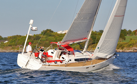 J/122E sport cruiser sailing off Newport