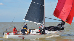 J/27 sailing Midwinters off New Orleans, LA